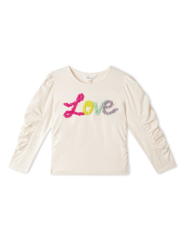 Ruched Long Sleeve Top with 3D Placement image 1