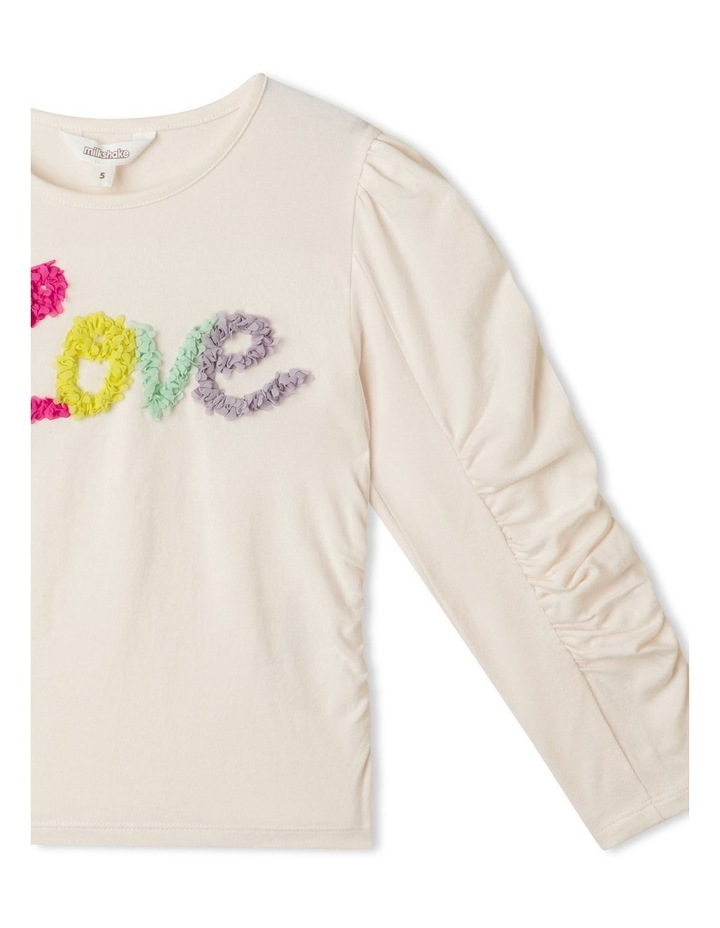 Ruched Long Sleeve Top with 3D Placement image 3