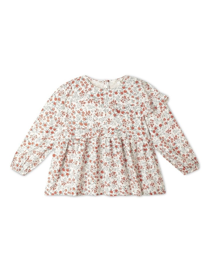 Twill Long Sleeve Top With Ruffle image 1