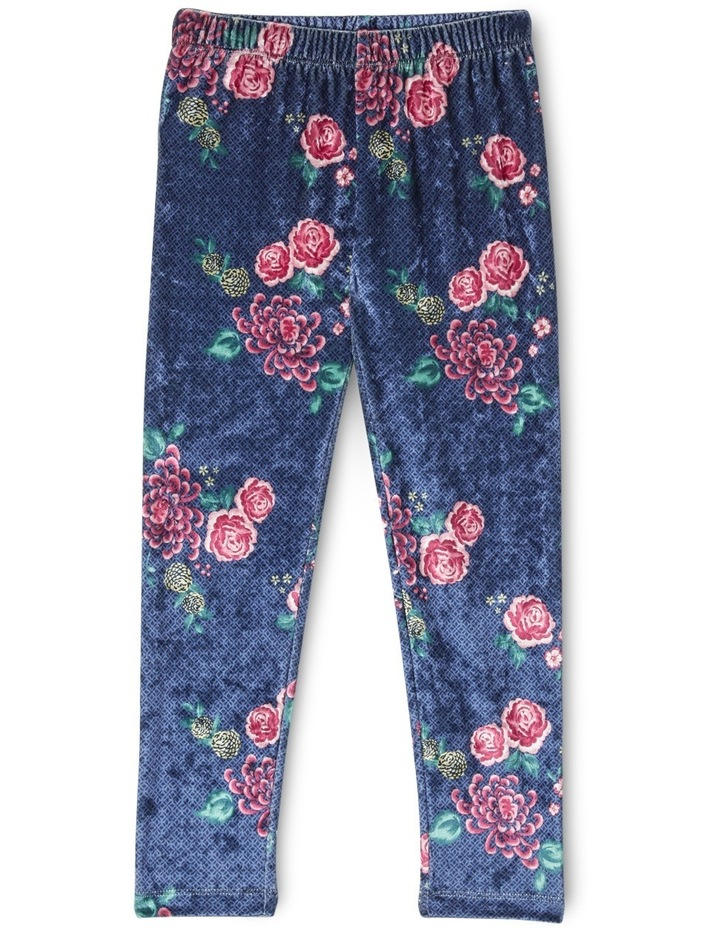 Printed Velour Legging - Navy Floral image 1