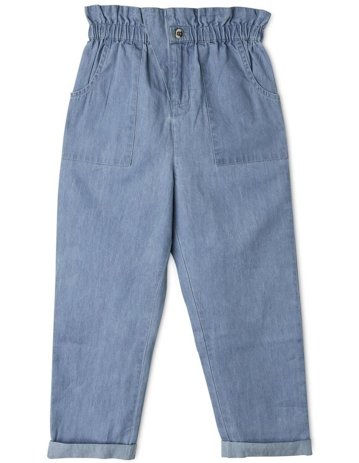 High-Rise Chambray Pant with Paperbag Waist image 1