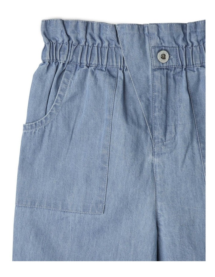 High-Rise Chambray Pant with Paperbag Waist image 2