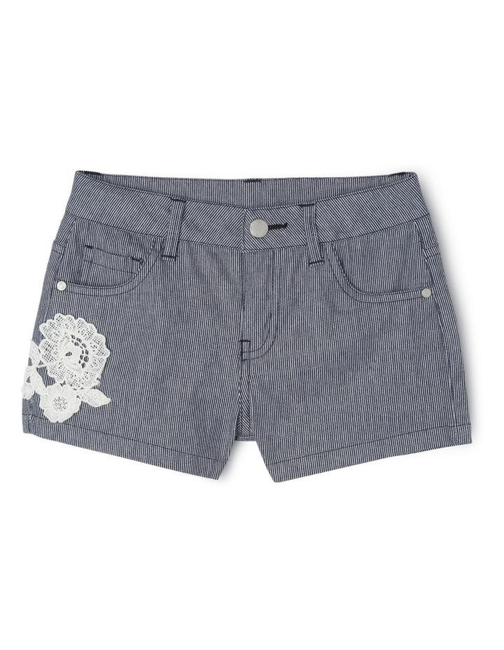 Stripe Short with Crochet Rose image 1