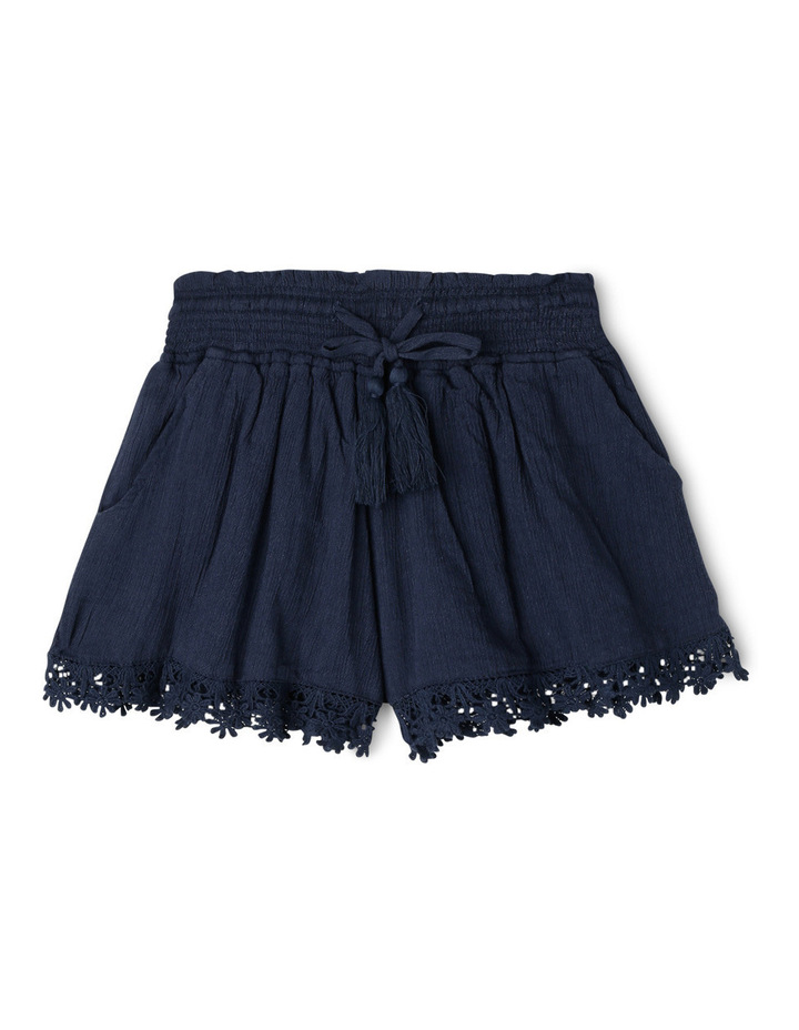 Lace Trim Shirred Waist Short - Navy. image 1