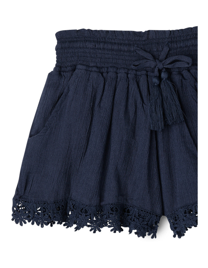 Lace Trim Shirred Waist Short - Navy. image 2