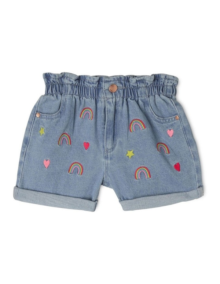 Embroidered Paper Bag Waist Shorts image 1