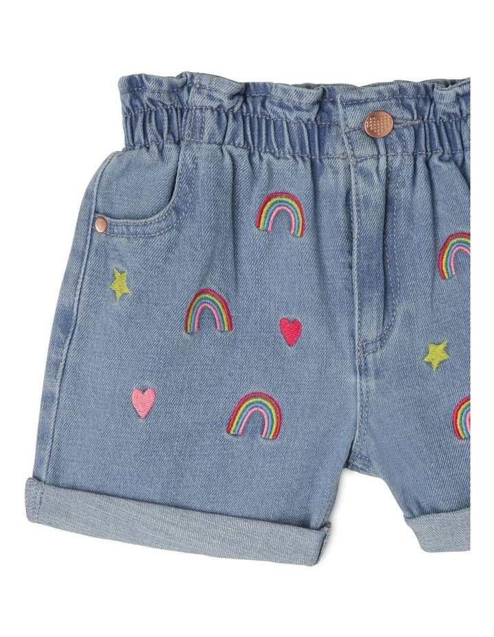 Embroidered Paper Bag Waist Shorts image 3