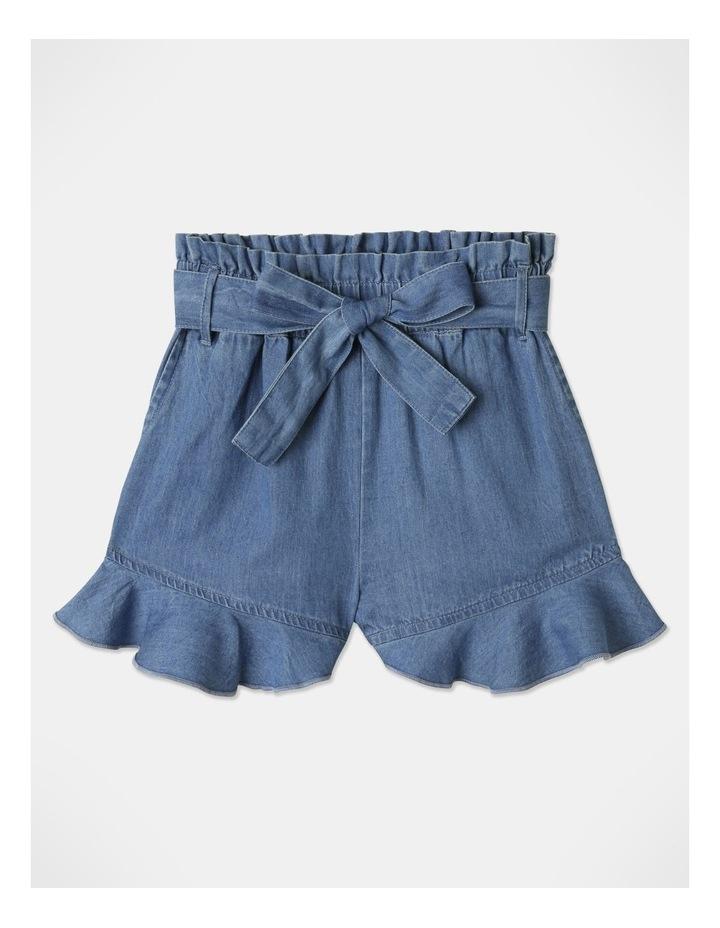 Denim Woven Frill Leg Drape Shorts image 1