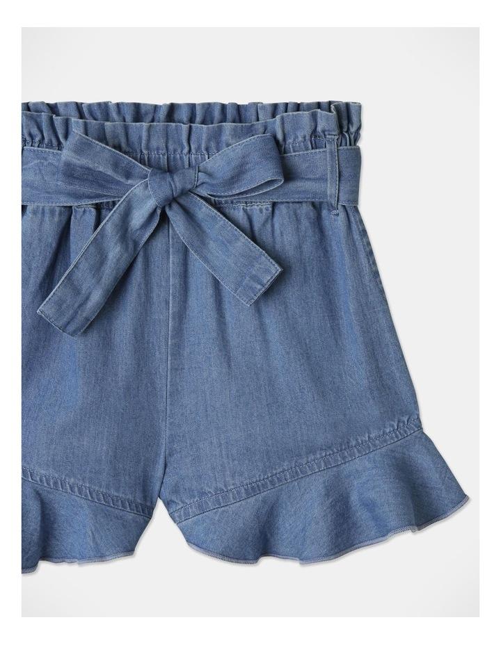 Denim Woven Frill Leg Drape Shorts image 3
