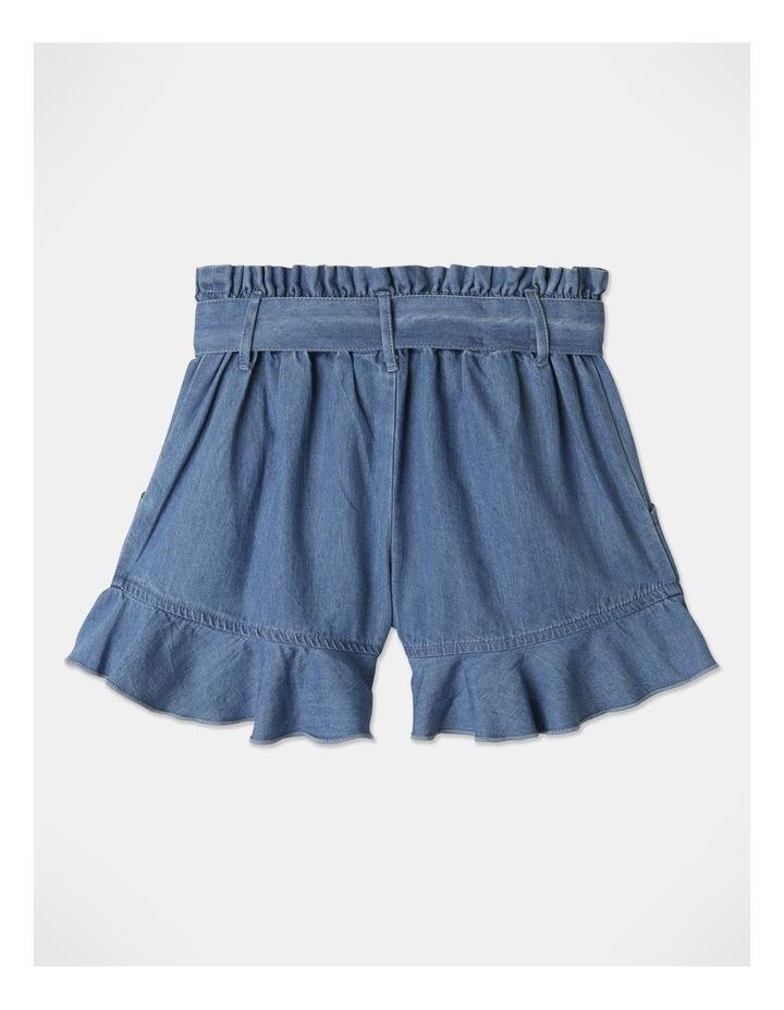Denim Woven Frill Leg Drape Shorts image 5