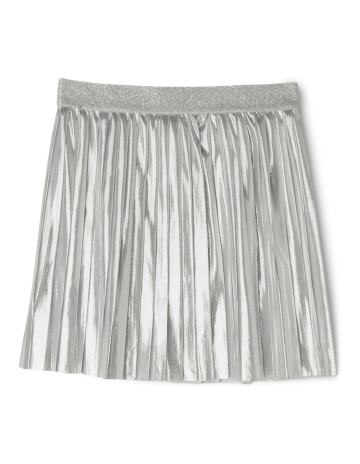 Metallic Pleat Skirt - Silver image 1