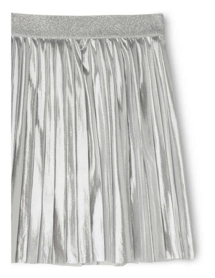 Metallic Pleat Skirt - Silver image 2
