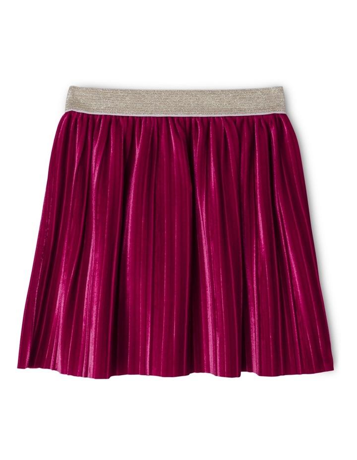 Pleated Velour Skirt with Elastic Waist image 1