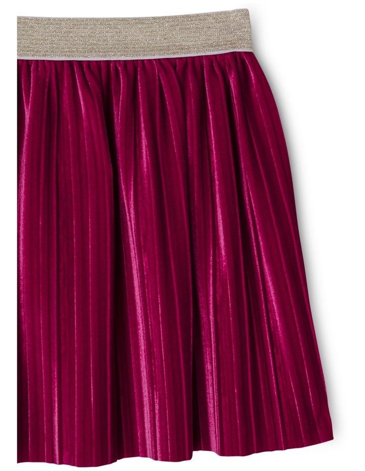 Pleated Velour Skirt with Elastic Waist image 2
