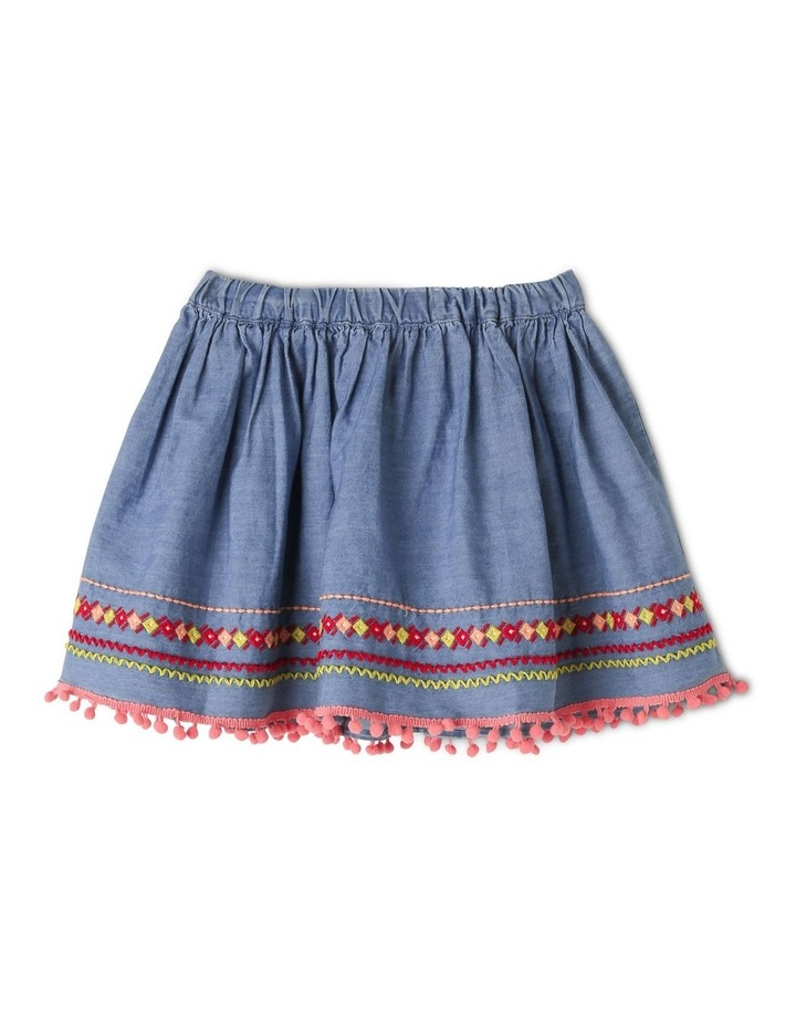 Woven Skirt with Pom Pom Detail image 1
