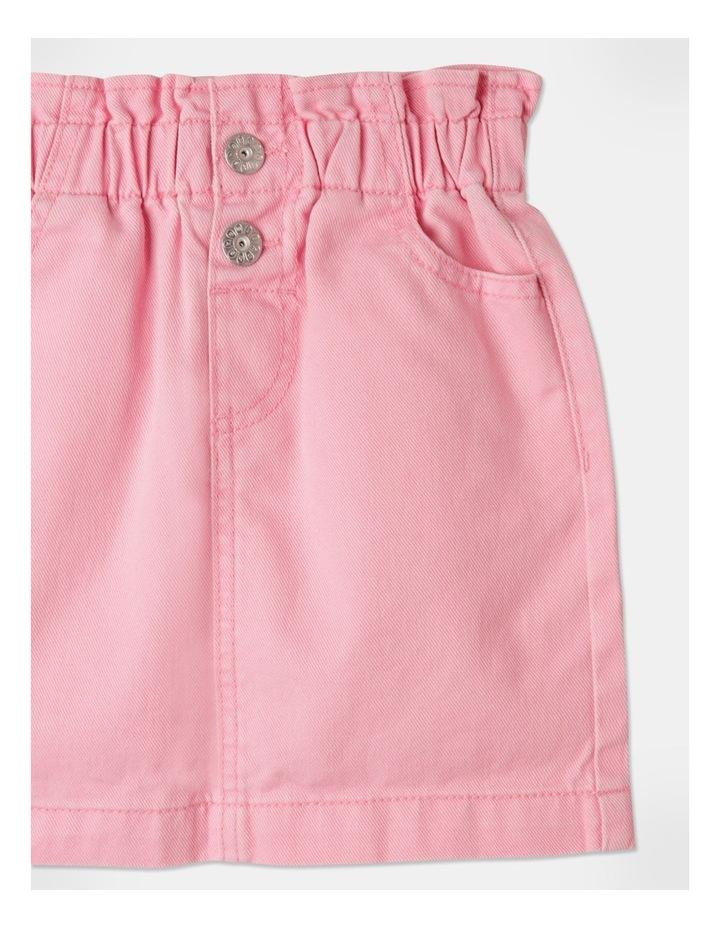 Denim Paperbag Waist Skirt Pink image 3