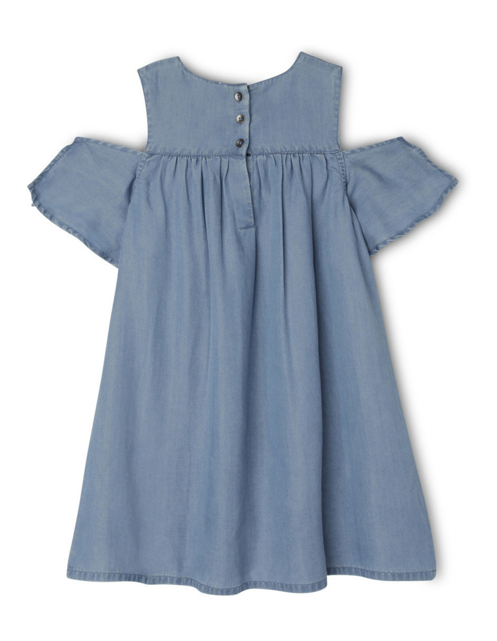 Cold Shoulder Woven Dress With Tie Sleeves - Lyocell Light Wash image 2
