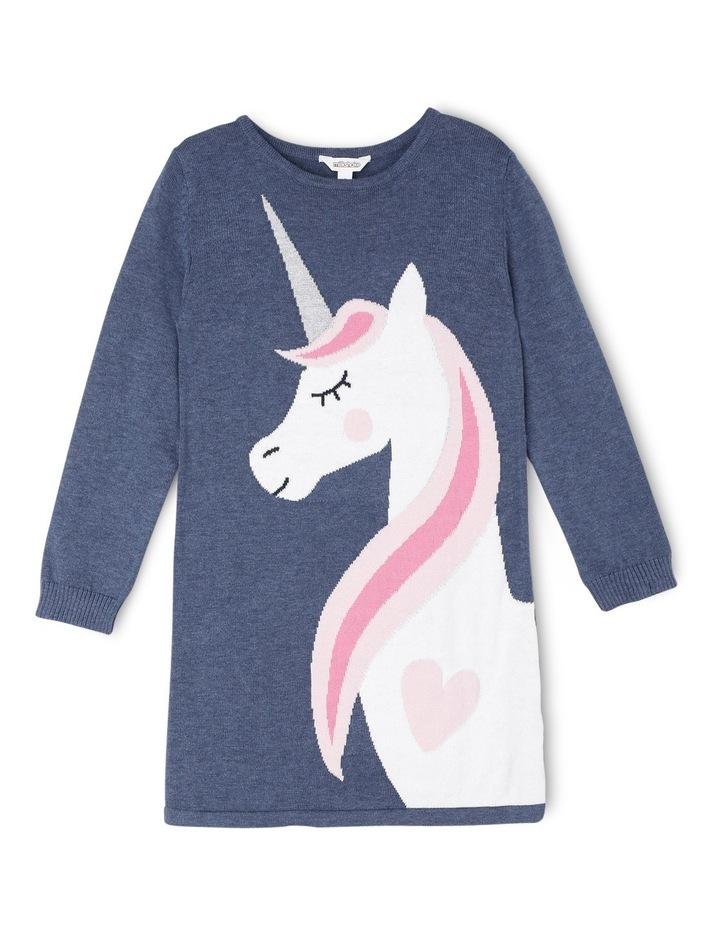 Knitted Long Sleeve Dress. Denim Marle Unicorn. image 1