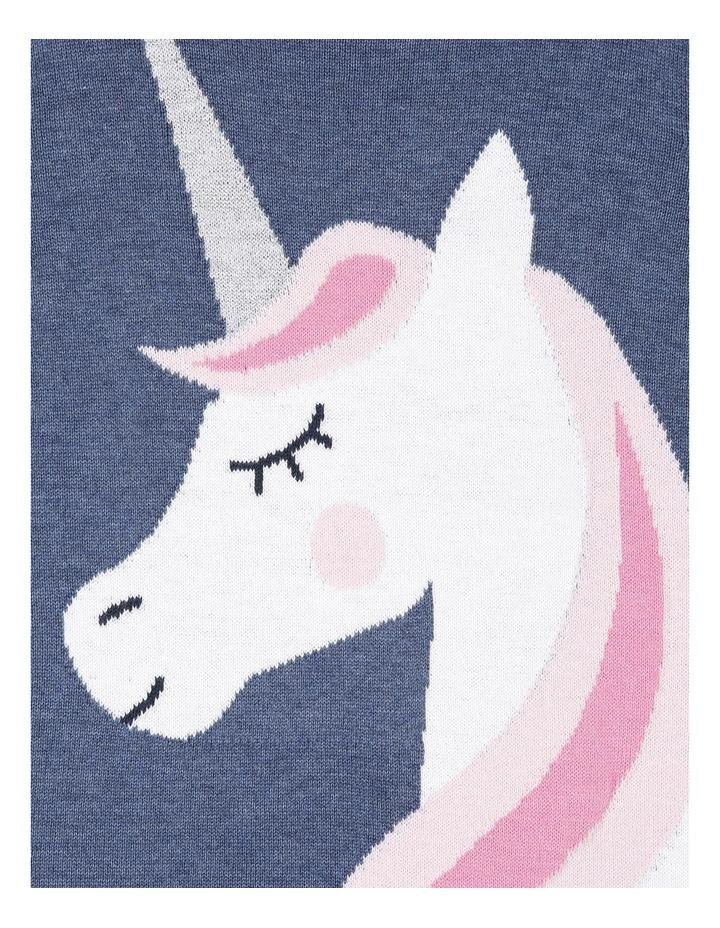 Knitted Long Sleeve Dress. Denim Marle Unicorn. image 2