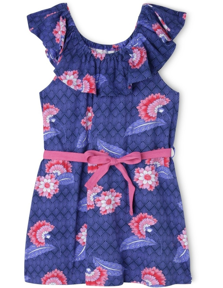 Frill Neck Knit Dress With Tie Belt image 1