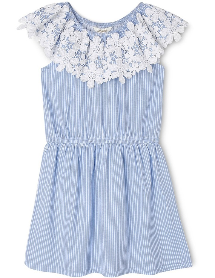 Knit Frill Neck Dress with Lace image 1