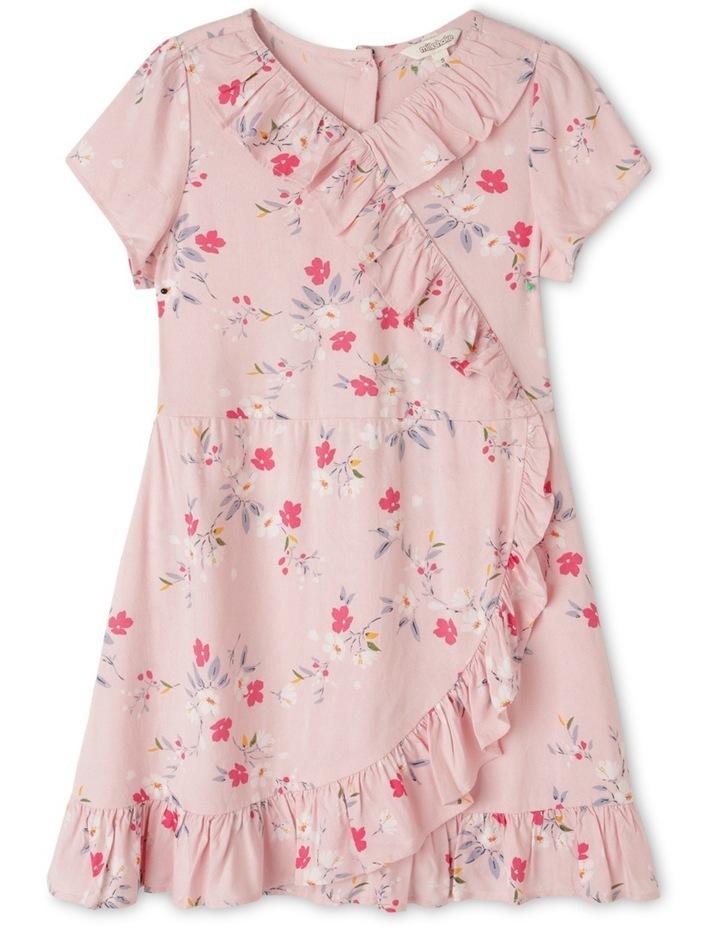Woven Short Sleeve Wrap Dress image 1