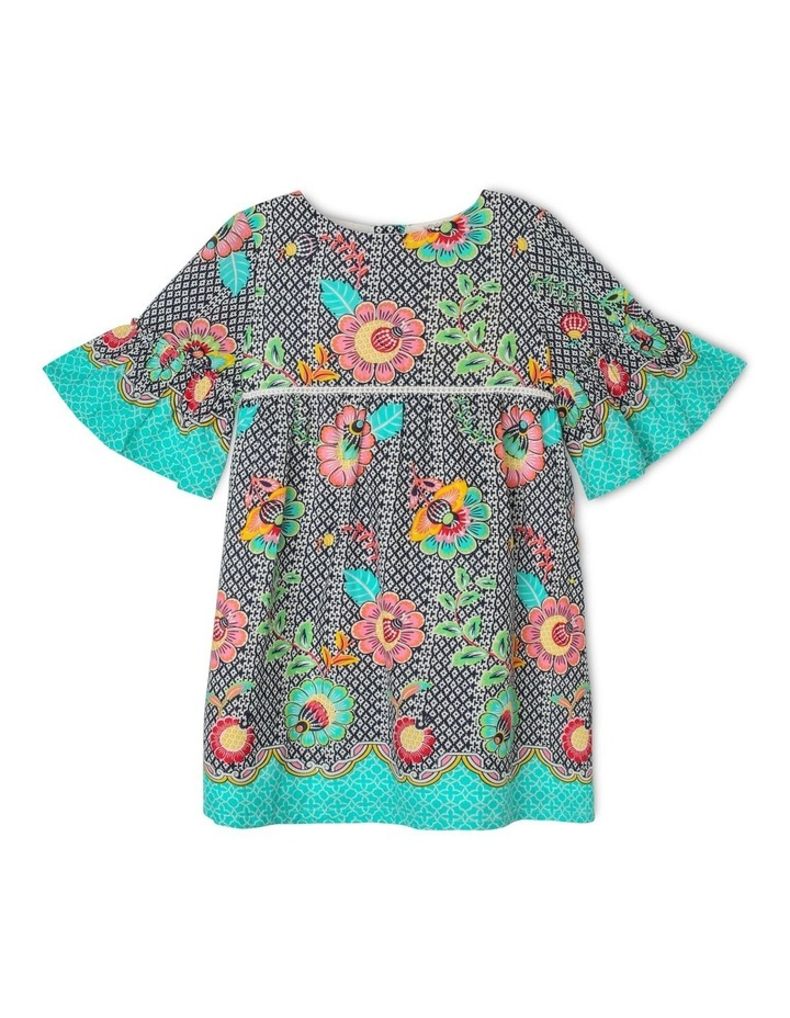 Woven Dress with Bell Sleeve image 1
