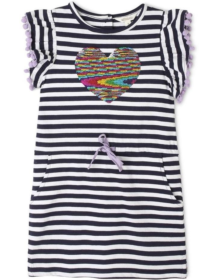 Knit Stripe Dress with Pom Pom Sleeves image 1