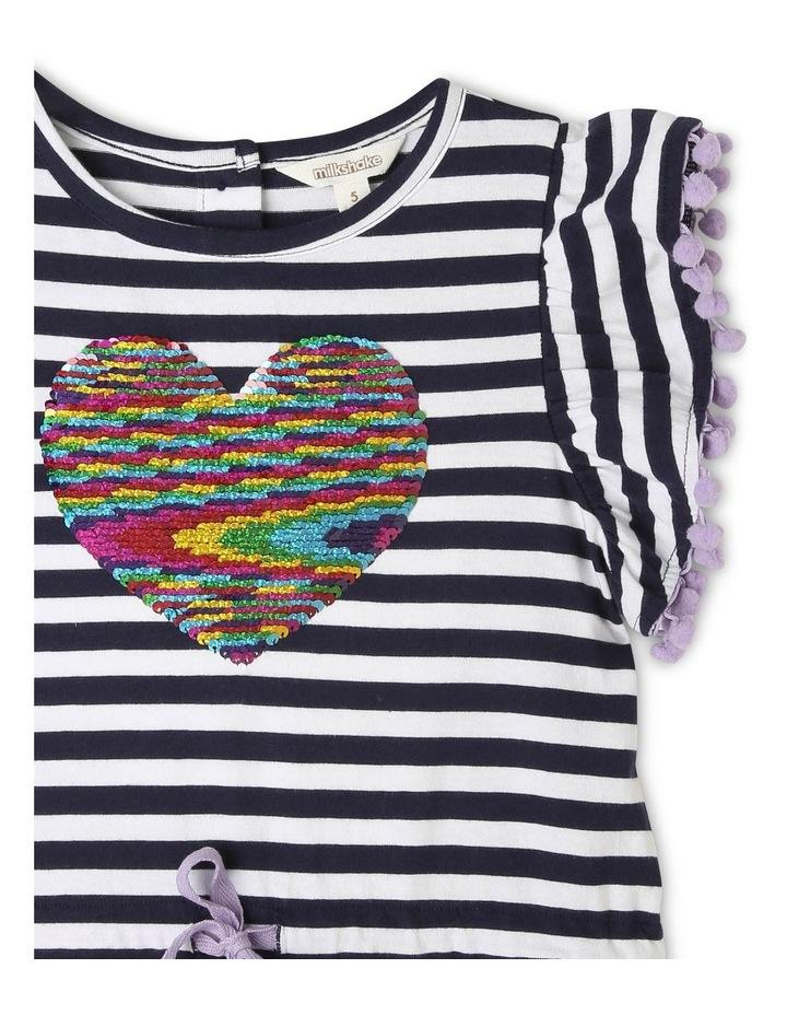 Knit Stripe Dress with Pom Pom Sleeves image 2