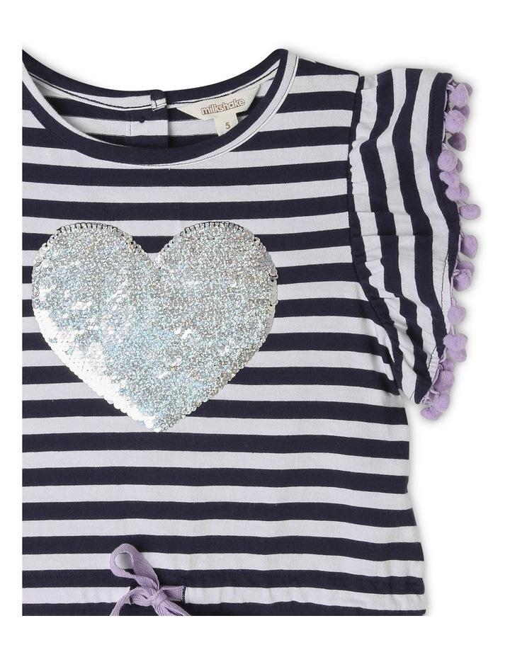 Knit Stripe Dress with Pom Pom Sleeves image 3