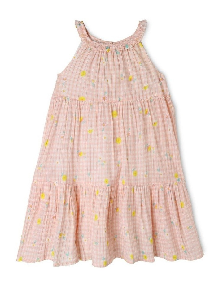 Woven Lurex Tiered Gingham Dress image 1