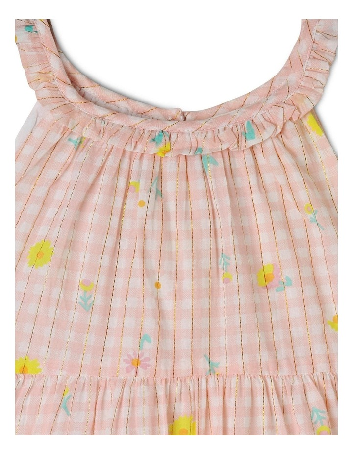 Woven Lurex Tiered Gingham Dress image 2