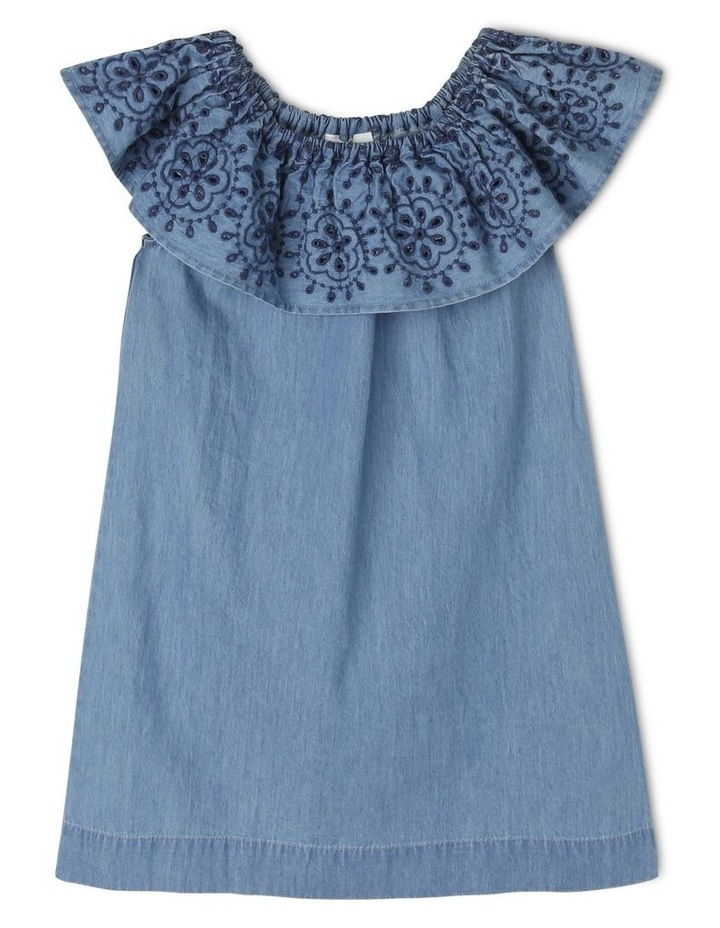 Woven Frill Neck Chambray Dress image 1