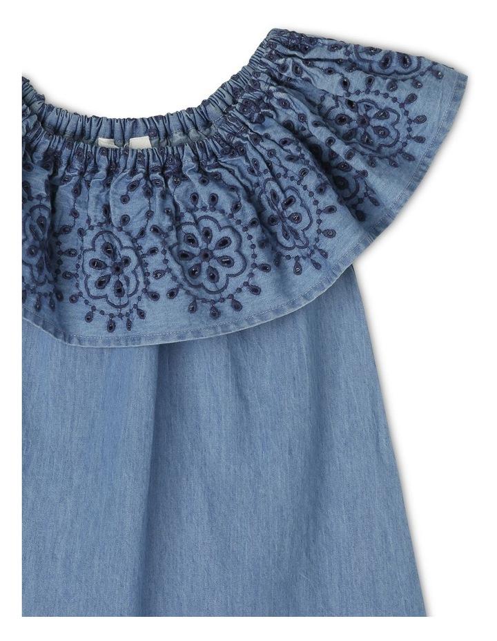 Woven Frill Neck Chambray Dress image 2