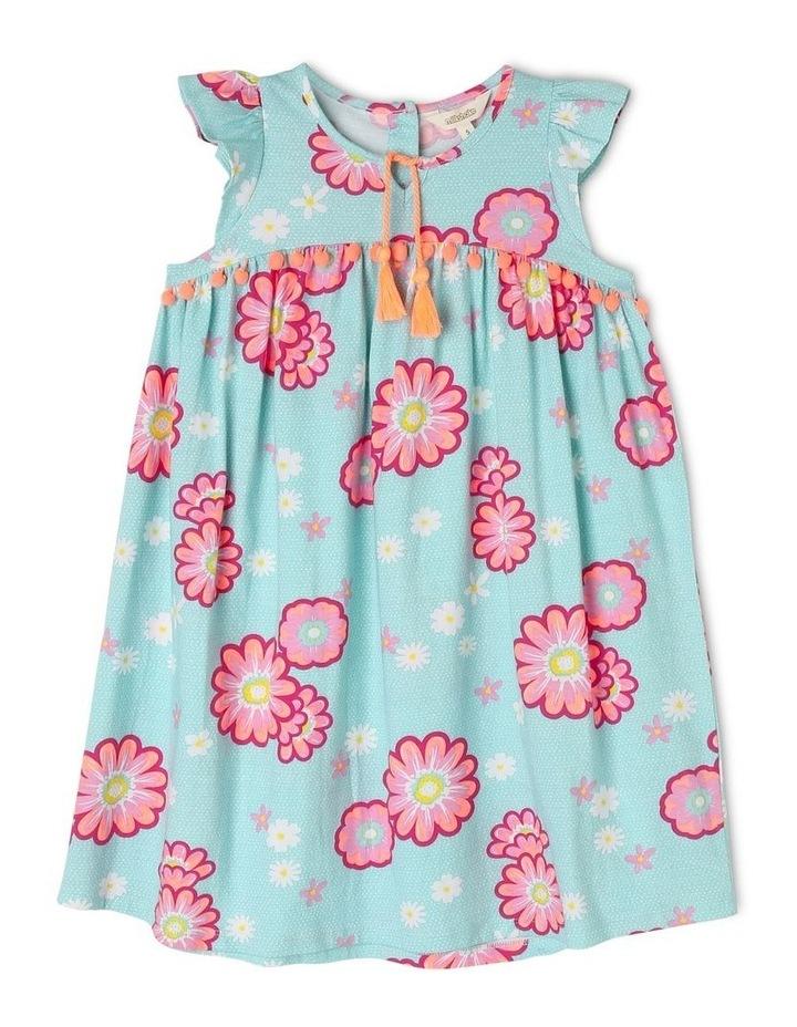 Flutter Sleeve Knit Dress with Pom Pom image 1
