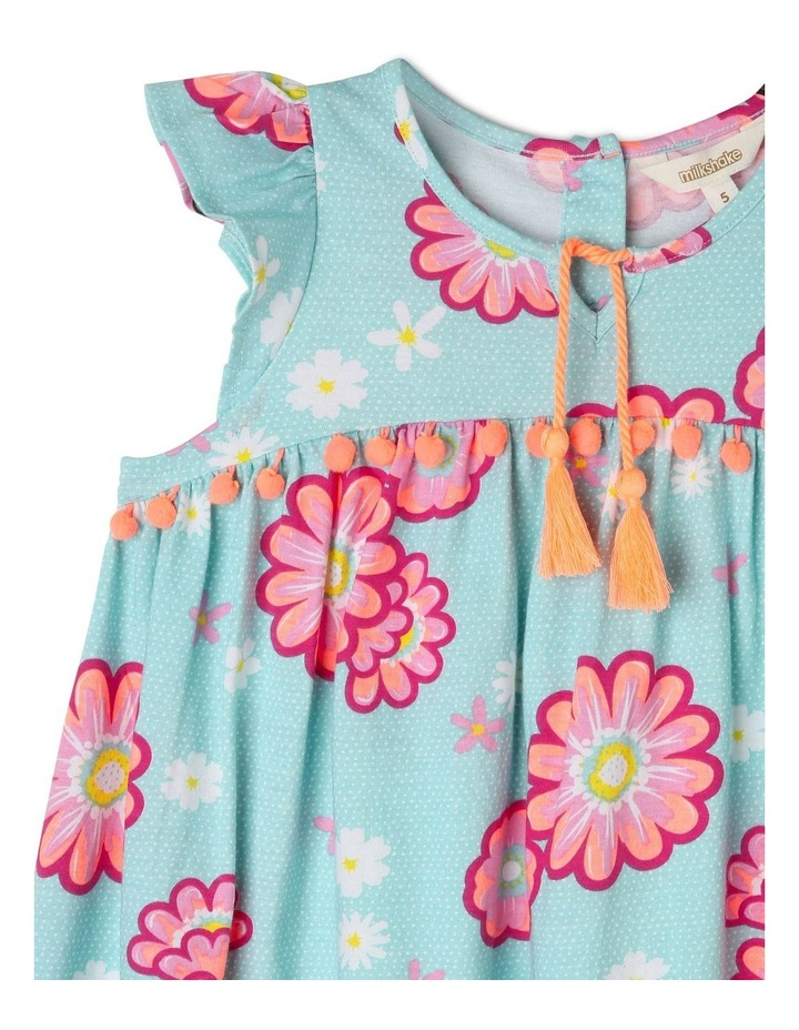 Flutter Sleeve Knit Dress with Pom Pom image 2