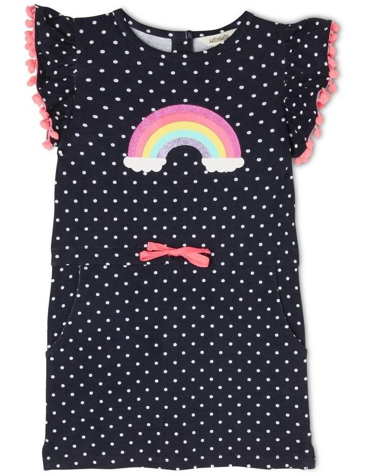 Knit Stripe Dress with Pom Pom Sleeves Detail image 1
