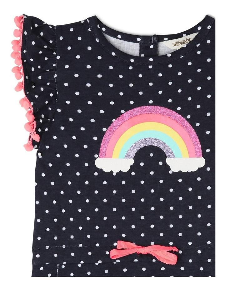 Knit Stripe Dress with Pom Pom Sleeves Detail image 2