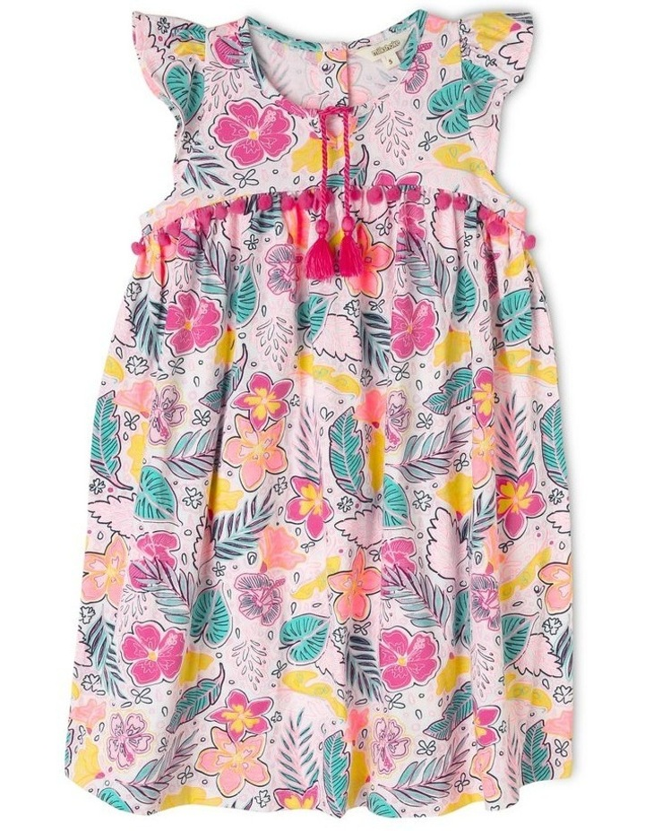 Short Sleeve Knit Dress With Pom Pom image 1