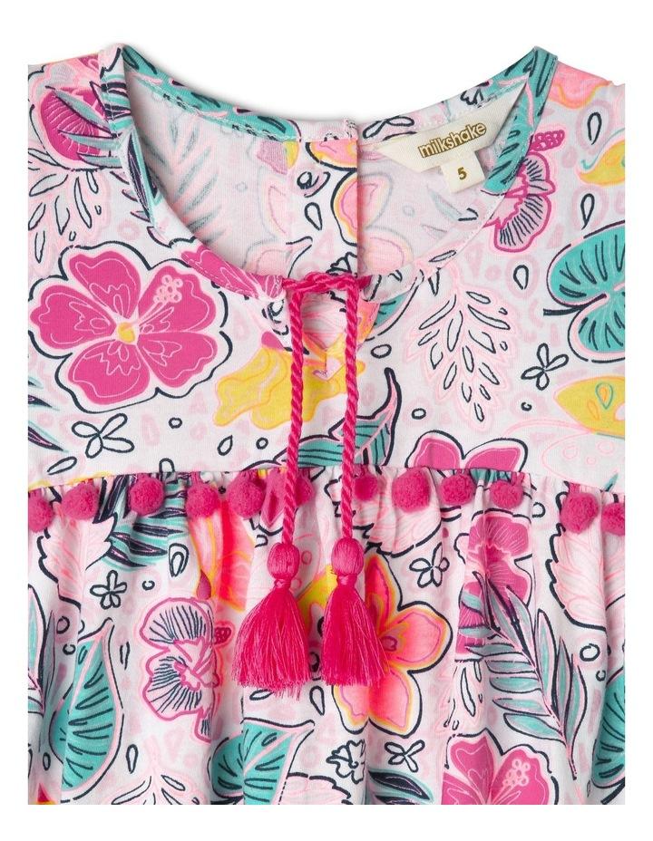 Short Sleeve Knit Dress With Pom Pom image 2