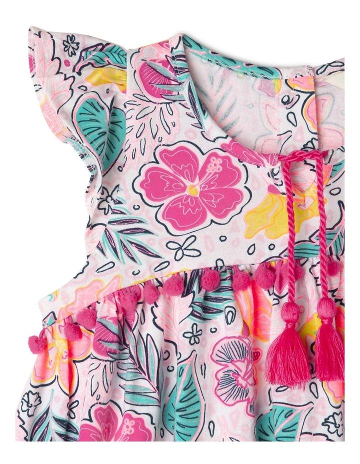 Short Sleeve Knit Dress With Pom Pom image 3