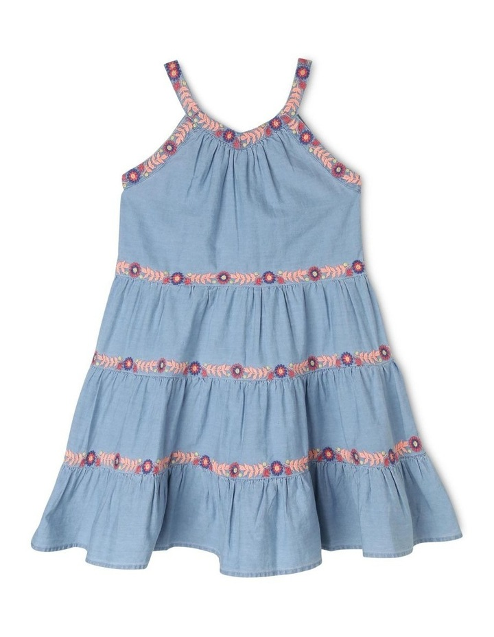 Chambray Sleeveless Tiered Dress image 1