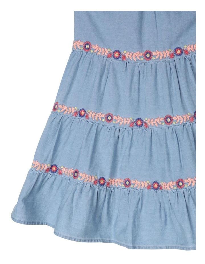 Chambray Sleeveless Tiered Dress image 3