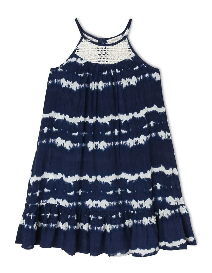 Tie Dyed Woven Dress with Lace Yoke image 1