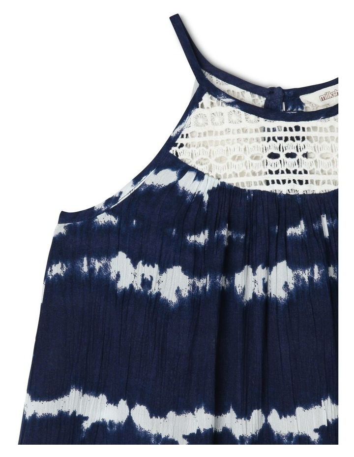 Tie Dyed Woven Dress with Lace Yoke image 3