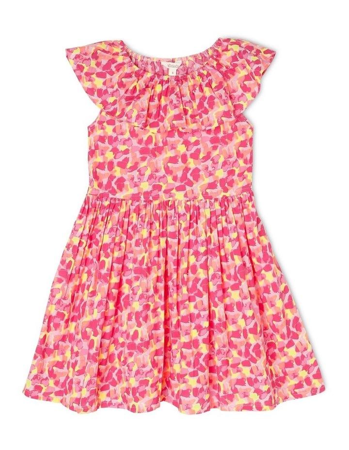Woven Elastic Waist Frill Dress with Spot Print image 1
