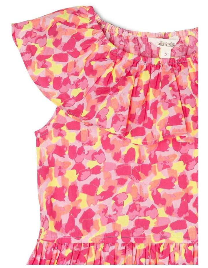 Woven Elastic Waist Frill Dress with Spot Print image 2