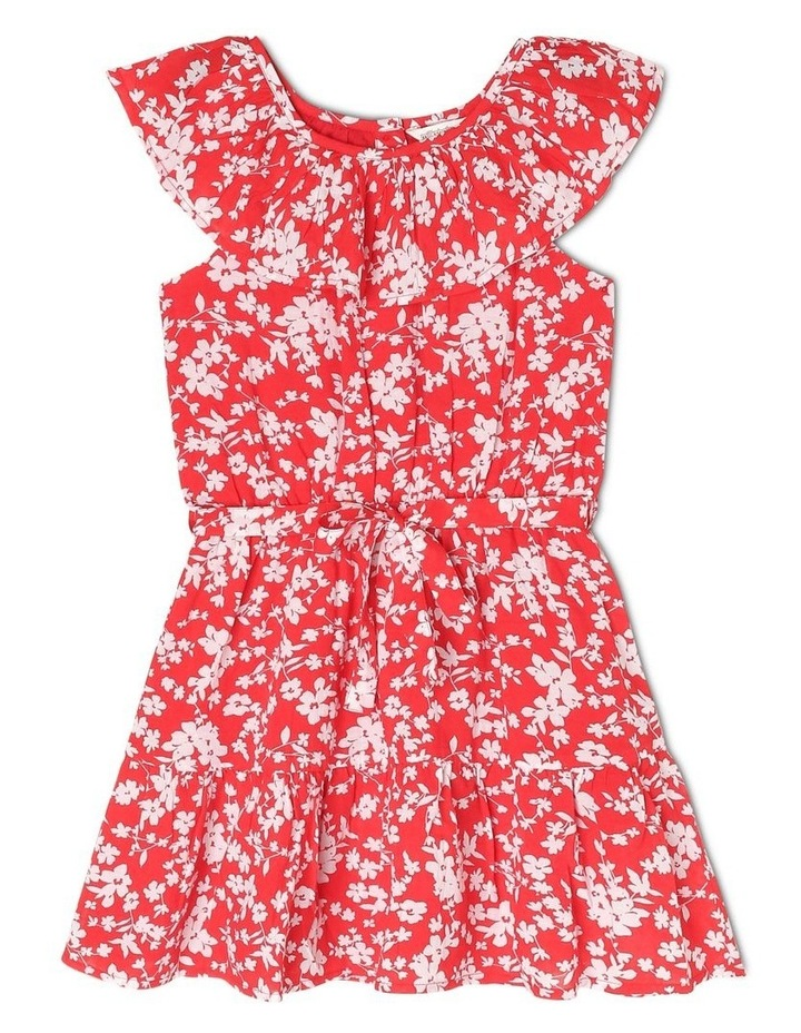 Woven Frill Neck Tie Waist Dress image 1