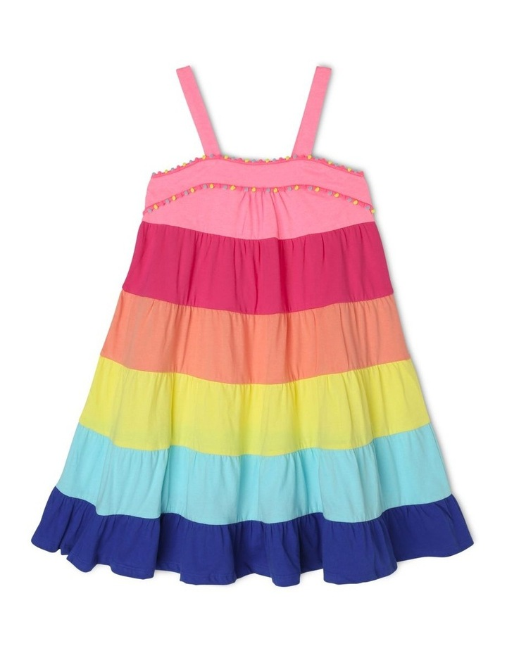 Knit Rainbow Dress With Pom Pom Trim image 1