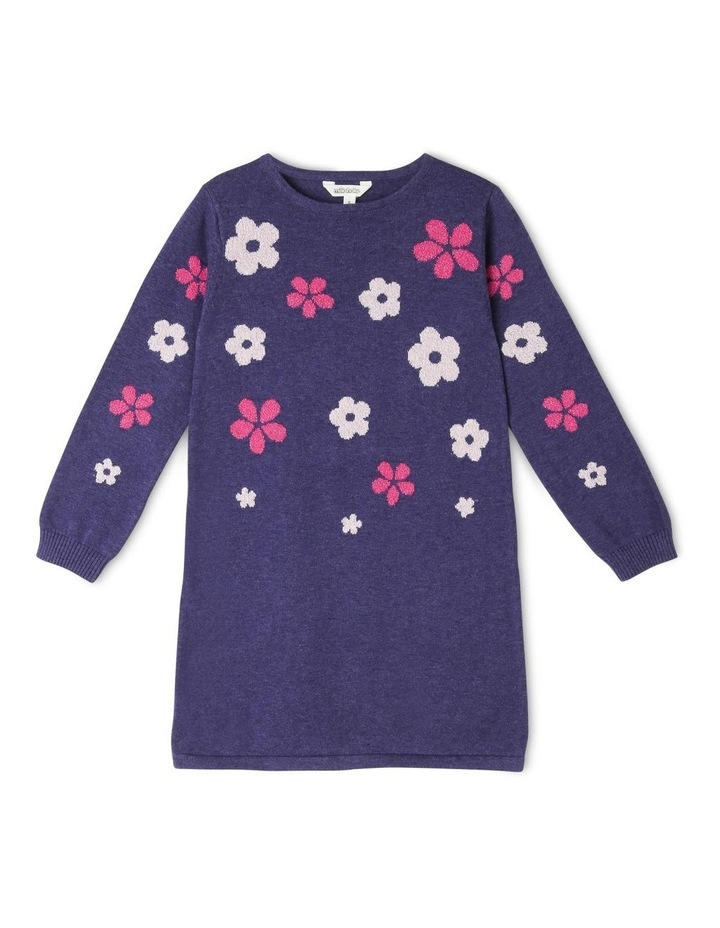 Knitted Intarsia Long Sleeve Dress image 1